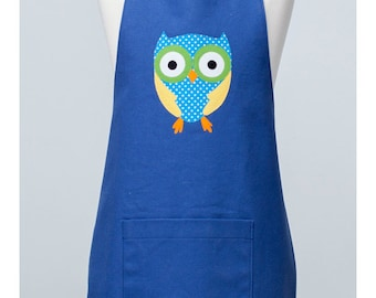 Adult Double Sided Appliqué Apron with Owl