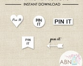 INSTANT DOWNLOAD - Social Media Icons - Pinterest Hover Buttons - White Set - By A Blissful Nest