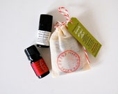 BREATH DROPS DUO - two zingy all natural, organic breath fresheners in a muslin bag!  Mint + Cinnamon, for an adorable gift
