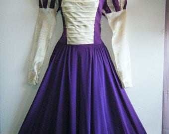 1940s Pageant Dress // prom queen evening gown // princess sleeves, size m - L