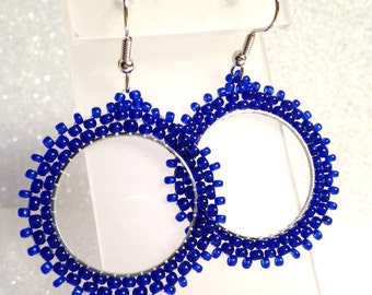 Blue mandala hoop earrings seed bead embroidery hoops