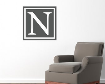 Square Initial Wall Decal - Personalized Decal with Initial - Large