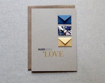 Hugs, Kisses and Love - Tiny Envelopes Card