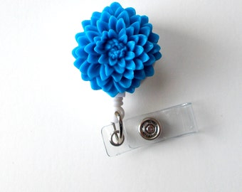 Blue Flower  - Name Badge Holder - Retractable ID Badge Reel  - Nurse ID Badge Clip - Flower Badge Holder - RN Badge - Gift