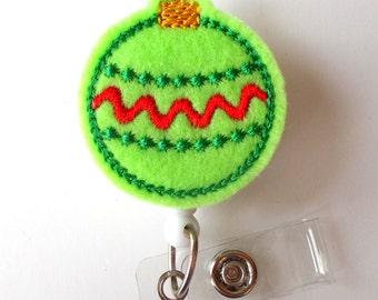 Christmas Ornament Green - Retractable ID Badge Reel - Teacher Badge Holder - Cute Badge Reel - Nurse Badge Holder - Nursing Badge Clip