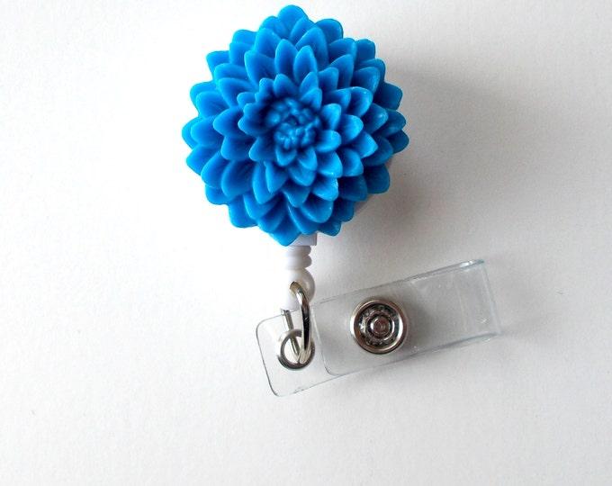 Blue Flower  - Name Badge Holder - Retractable ID Badge Reel  - Nurse ID Badge Clip - Flower Badge Holder - RN Badge - Gift