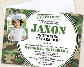 Camo or Army Party Photo Invitations - Professionally printed *or* DIY printable