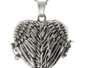 Angel Wings Heart Locket with Chain