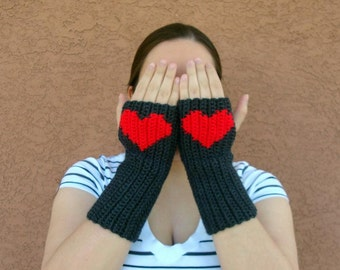 Heart Fingerless Gloves - Red and Charcoal Grey Fingerless Gloves - Wrist Warmers - Arm Warmers, Fingerlesss Mittens for Women MADE TO ORDER