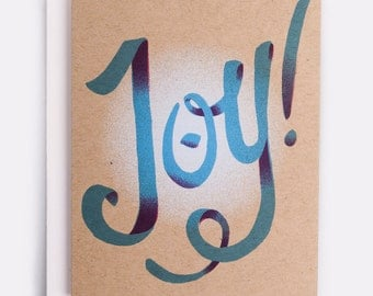 "Joy Holiday Card - 100% Recycled French Paper Speckletone Kraft, Vintage Inspired, 4.25"" x 5.5"" A2"