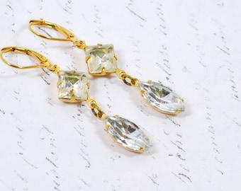 White Gold Rhinestone Earrings, Vintage Estate Style Jewelry, White Rhinestones Gold Dangle Earrings, Leverback Hooks