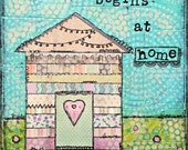 Quote Art / Mixed Media / Original Canvas / She Art / 8x10 Collage  House Painting
