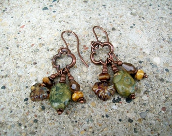 Unearthed Rhyolite Gemstone and Czech Crystal Wire Wrapped Earrings with Antiqued Copper