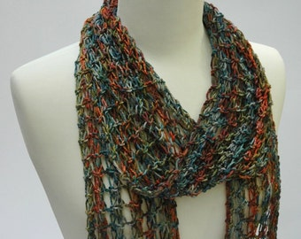 Cotton Scarf- Hand Knit/ Turquoise/ Moss/Curry
