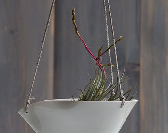 Large Porcelain Hanging Planter - Waxed Linen Loop Design