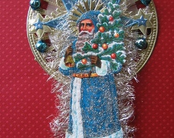 Vintage Look SantaChristmas Ormament Victorian-Vintage 1940's German Scrap Santa Blue Robe, Spun Glass, Tinsel,German Dresdens, Glass Beads