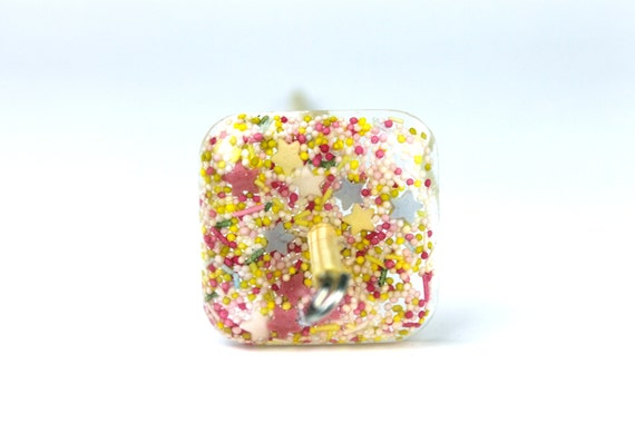 Square Drop Spindle  - Candy Sprinkles - Resin Drop Spindle -  learn to spin - light drop spindle - butterfly spindle