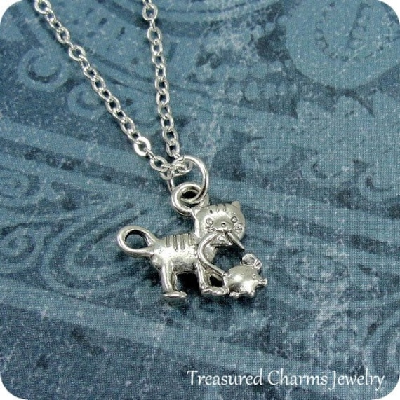 Cat and Mouse Necklace, Silver Cat and Mouse Charm on a Silver Cable Chain