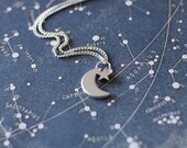 Tiny Crescent Moon and Star Necklace. Moon Pendant Necklace. Silver Moon Charm Necklace. Small Star Pendant Necklace.