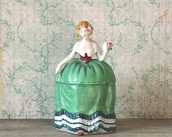Powder Box, Ceramic Lady Figural Circa 1940s Porcelain Colonial  Lady Figural Powder Box Green Gown Pink Rose Japan