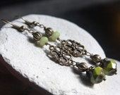 Long Green Czech Glass Bead Earrings - A.884