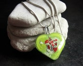 Only One ~ Green, White, and Red Fused Glass Pendant in a Sterling Silver Chain - VF.046