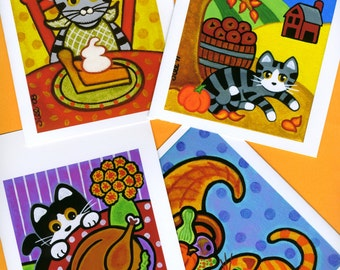 Autumn FALL Harvest and Thanksgiving CAT Note CARDS - Set of 4 Blank - from Paintings by Jill