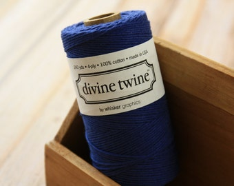 Solid NAVY Blue Divine Twine 240yds SPOOL 4-ply cotton bakers twine string