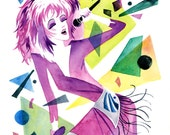 Glamour and Glitter, Fashion and Fame! - Jem & the Holograms - inspired Fine Art Giclee Print