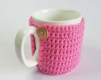 Pink Crochet Mug Cosy With Built in Coaster, Crochet Mug Cozy, Mug Cozy, Pink Mug Cozy