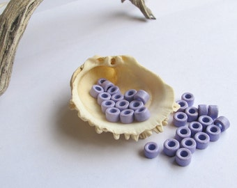 Mykonos Greek Ceramic Mini Tube Beads Rare color 30 light purple 6X4mm Mykonos Beads Spring Sewing scrapbooking supplies DIY