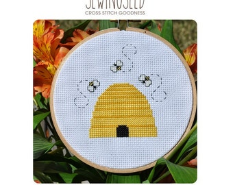 Bee Hive Cross Stitch Pattern Instant Download