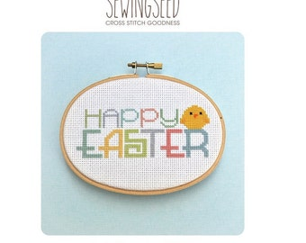 Happy Easter Baby Chick Cross Stitch Pattern, Pastel colors, spring, instant download, DIY Easter decoration