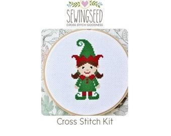 Cute Girl Elf Cross Stitch Kit, DIY Christmas Embroidery Kit