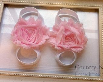 Elastic Baby Sandals...Barefoot Baby Sandals...Elastic Flower Sandals...Baby Sandals...Barefoot Sandals