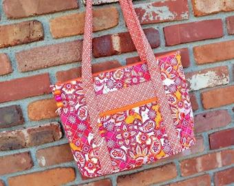SALE, Quilted Women's Purse, Cotton Handbag, Shoulder Bag, Orange Floral Purse