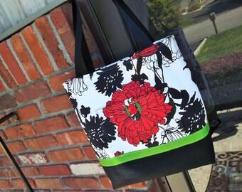 Large Tote Bag, Book Bag, Womens Floral Purse, Cotton Canvas Tote