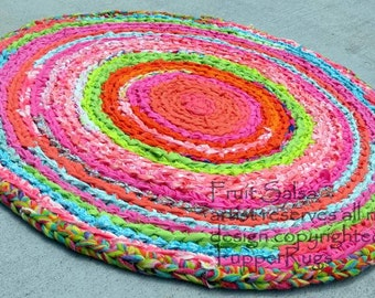 """rag rug, baby bedding,  Lilly Pulitzer inspired -FRUIT SALSA! - boho - hot pink, lime green, coral, 28"""" round -  vintage look- upcycled"""