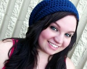 Slouchy Beanie /Tam/Snood/Basket Hat - Unisex - Country Blue -Crochet
