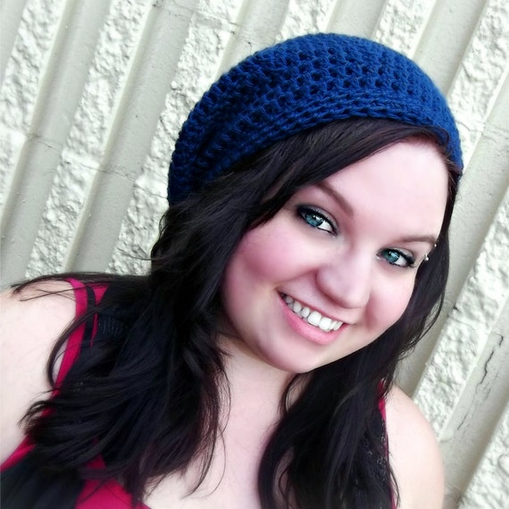 Slouchy Beanie /Tam/Snood/Basket Hat - Unisex - Country Blue -Crochet