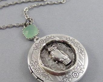 SALE/Autumn Owl,Owl,Locket,Silver Locket,Silver Necklace,Owl Neckalce,silver,Woodland,Antique Locket. Handmade jewelry by valleygirldesigns.