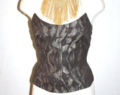 TIERRY MUGLER Vintage Bustier Brush Stroke Metallic Pointed Strapless Corset - AUTHENTIC -