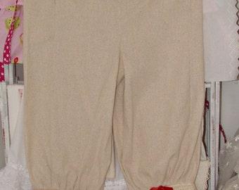 Tina GIvens Linen Bloomers, Vintage Lace Pantaloons, Ruffled Bloomers