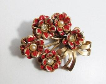 Vintage Brooch: Gold Tone Bouquet of Red Enamel Flowers