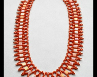 Coral Statement Necklace, Egyptian Style Necklace, Statement Necklace, Coral Beaded Necklace, Coral Necklace, Bridesmaid Necklace