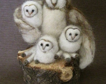 Needle Felted Animal, Barn Owl, needle felted Owl, mother and babies, three little birds, Waldorf toy, design by Borbala Arvai,made to order