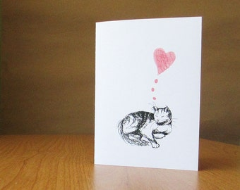 Sweet cat anniversary card, wedding card, or fondly thinking of you. Cat love card, blank inside.