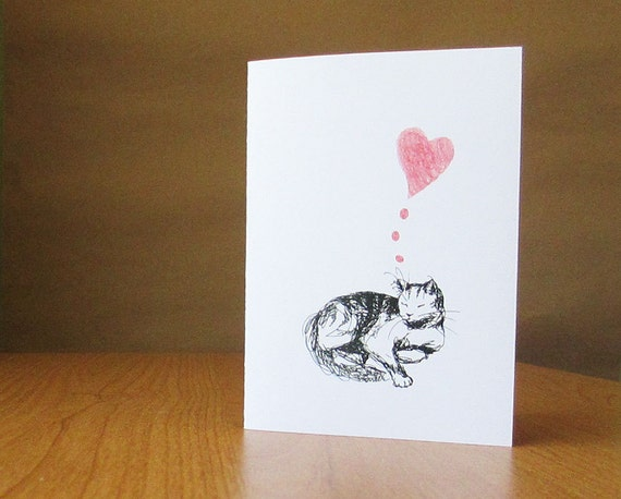 Sweet cat card. Mothers Day card, anniversary card, wedding card, or fondly thinking of you. I love you card.
