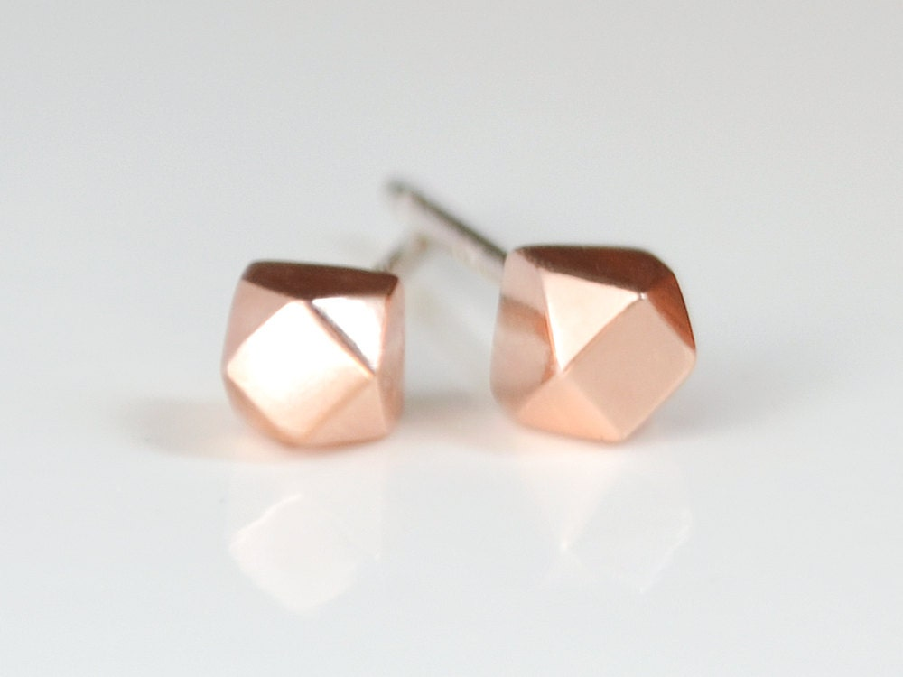 Rose Gold Stud Earrings Simple Geometric Faceted Studs