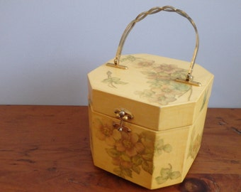 Vintage Wooden Box Purse with Flowers and Butterflies, Octagonal 8-Sided, Decoupage